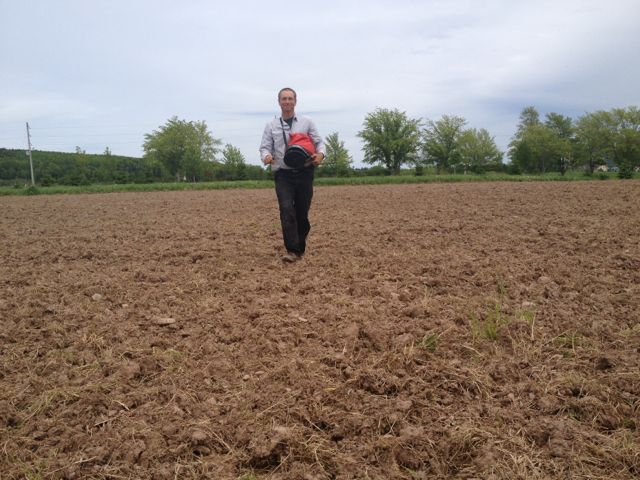 David seeding a cover crop at the new Bethany garden.