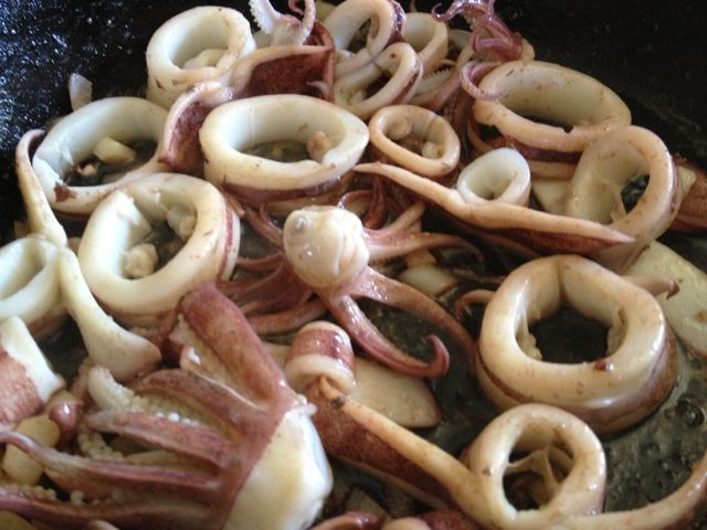 A fresh meal of calamari from the weir
