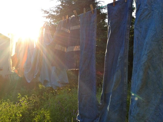 We finally got some clothes dry on the line.  It was starting to get swampy around here...