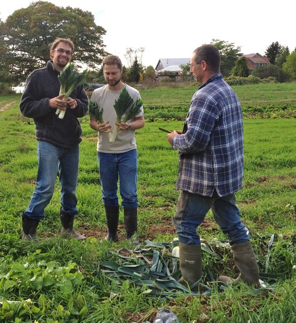 Tim and Phil gave us some advice about our solar hot water system, and they love leeks!