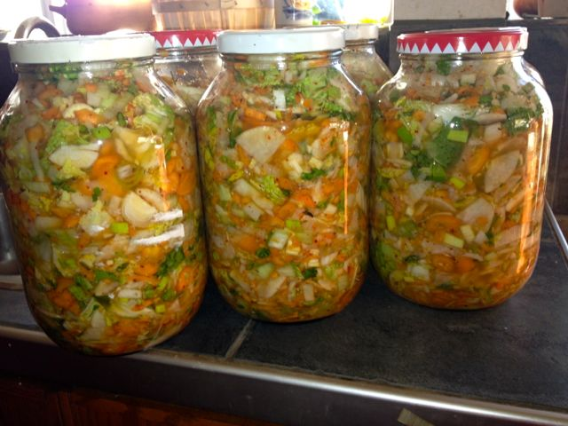 Kim Chee in jars, starting to ferment
