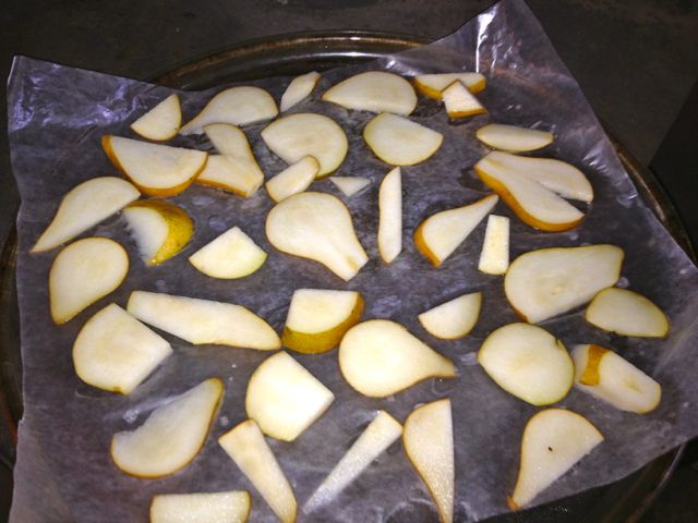 Pear slices about to go in dehydrator