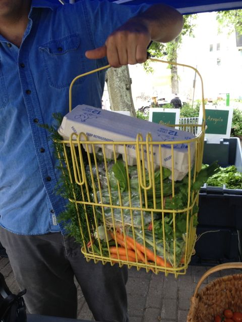 Produce pack in bike basket.  Pack, clip on bike, and go!