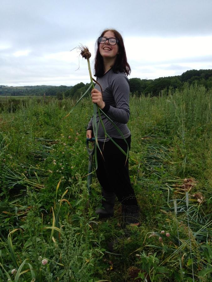 Triumphant Sidonie harvesting garlic