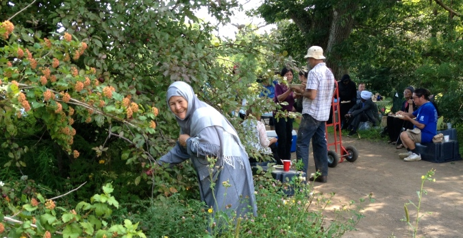 I think this woman was from Afghanistan. She was into the crabapples!
