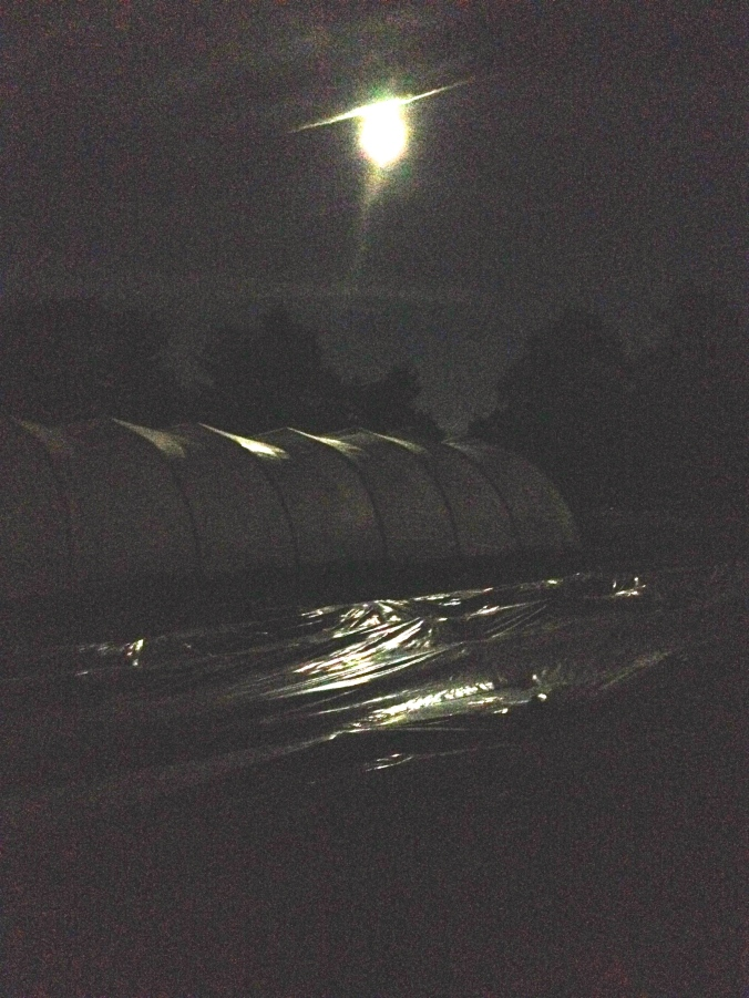 Supermoon above superhoophouse.  Eclipse will start soon!