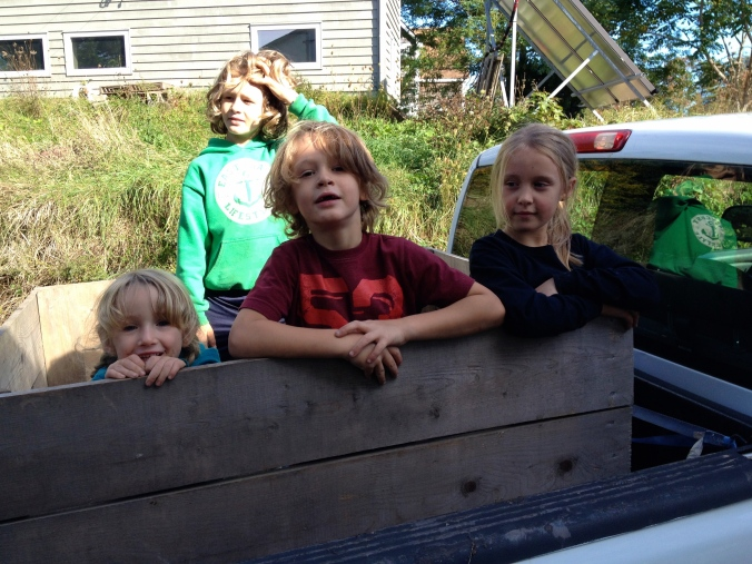 Kids in the apple bin